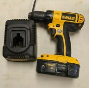 Dewalt Dc720 18v Cordless 1/2 Drill With Dc9098 Battery And Dc9116 Charger Works