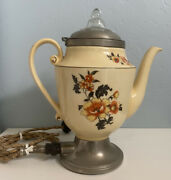1924 Royal Rochester Ceramic Electric Percolator Coffee Maker - Ny - Works