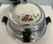 Vintage Royal Rochester Waffle Iron With Porcelain Floral Insert On Lid - Works