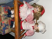 Vintage Porcelain Dolls With Wooden High Chair Blonde Blue Eyes Matching Clothes