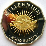 Gambia 2000 Millennium Sun Map 2000 Butus Silver Coin,proof