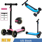 New Led Scooter For Kids Deluxe 3wheel W/ Kick N Go Lean 2 Turn Ajustable Gift