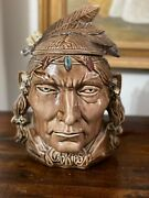Mccoy Pottery Indian Head Cookie Jar. Rare Light Brown - 1954-1956 Production