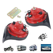 A Pair 300db Electric Air Horn Kit Train Horn For Trucks Car Boat Motorcycle Red