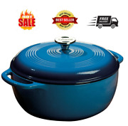 Cast Iron Dutch Oven With Stainless Steel Knob And Loop Handles, 6 Quart, Blue