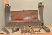 Antique 1840and039s Carpenters Tool Box H. Stone Collectible Planes Hammer Saws More