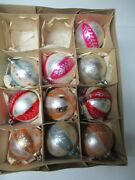 11 Vintage 1960's Poland Glass Christmas Ornaments - Decorated Balls 24