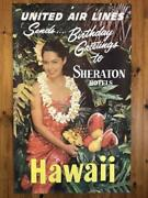 Original Vintage Travel Poster 1960s Sheraton Hotels By United Airlines