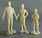 Marx Dollhouse Family Father Mother Sister W/ Baby Doll 1960and039s Mint 3 Dolls