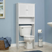 Bathroom Space Saver Over The Toilet Shelved Storage Cabinet Organizer White