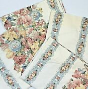 Jc Penney Home Vintage Set 4 Curtains Drapes 40x 64 Pink Blue White Floral Lined