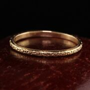 Antique Art Deco 14k Yellow Gold Engraved Wedding Band - Size 10 1/2
