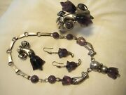 William Spratling Amethyst Set Necklace Bracelet Pin Or Earrings Taxco Mexico