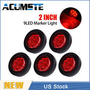 5pcs Red 2 Round 9 Led Truck Side Marker Lights Clearance Lamps Waterproof Us