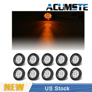 10 X Amber Clear 2 Round 9 Led Truck Side Marker Lights Clearance Waterproof