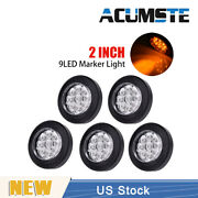 5× Amber/clear 2 Round 9 Led Truck Side Marker Lights Clearance Lamp Waterproof