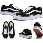 Old Skool Black White Low Suede Canvas Classic Skate Shoes - Free Shipping
