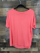 Cuddl Duds Softwear With Stretch Women's Coral Short Sleeve Lounge Top Size M