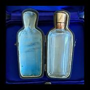 Antique Dutch 14ct, 14k, 585 Gold Mounted, Glass Scent, Perfume Bottle In Case