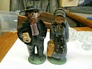 Vintage Antique Solid Cast Iron Amish Painted Figures Shopping Heavy Cast Iron