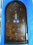 Vintage Silver Tunnel Wooden Bagatelle Pinball Board With Star Spinners