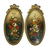 A Pair Of 20th Century Oval Still Of Life Oil Miniature Paintings Gilt Framed