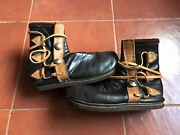 Vintage Womenand039s Moccasin Boots Brown Leather With Buffalo Nickel Coin Size 7 Us