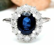 9.36 Ct Oval Cut Natural Sapphire Real Solid 14k White Gold Diamond Ring