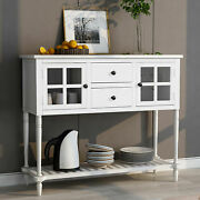 Us Sideboard Console Table With Bottom Shelf Farmhouse Buffet Storage Cabinet