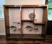 Japanese Display Cabinet - Wood Mid Century Doll Case With Sliding Glass Doors