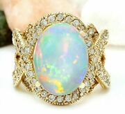 Igi Certified 4.32 Ct Natural Opal Solid 14k Yellow Gold Luxury Diamond Ring