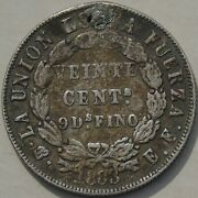 Bolivia 20 Centavos 1883 Mm E.f. Very Very Rare Fine Holed Plugged 3 To 5 Known