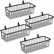 Farmhouse Metal Wire Bin Basket With Wall Mount Small 4 Pack - Portable Hanging