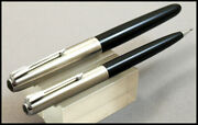 Beautiful Parker 51 Steel Cap And Black Fountain Pen And Pencil In Box