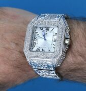 Menand039s Iced Lab Diamond Luxury Bezel And Band Hip Hop White Gp Montres Carlo Watch