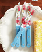 🌺 The Pioneer Woman Set 0f 4 Steak Knives In Sweet Rose Design Hard To Find
