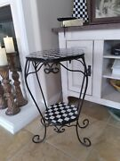 Mackenzie Childs Inspired Longaberger Wrought Iron End Table 24 X 16