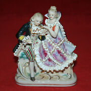 Gorgeous Meissen Victorian Seated Courting Couple In Period Outfit W Gold Lace