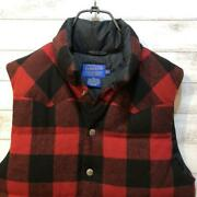 Pendleton 100 Wool Red And Black Block Check Duck Down Vest Menand039s Size S Used