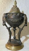 Antique Bronze Cassolette Tripod Bowl Ornate Floral And Pine Cone Motif French