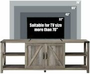 68 Tv Stand,wood Metal Tv Console W/storage Cabinets And Shelves For Tv Up To 78