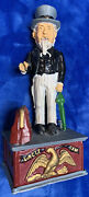 New Cast Iron Mechanical Uncle Sam Coin Bank Reproduction - Nice
