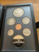 Canada 1985 7 Coin Proof Year Set With Moose Silver Dollar - Case/coa/outer