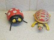 Vintage Pair Of Tin Litho Wind Up Toys Turtle And Lady Bug Marked Japan