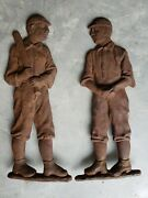 Early 1900's Antique Baseball Pitcher And Batter Andirons