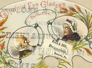 Victorian Trade Card 1880s Celluloid Eye Glasses Hall And Bro Druggist Pa Vtc-h4