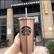 Starbucks Tumler Cold Cup W/straw Liddouble Wall Stainless Steel 17ozgold