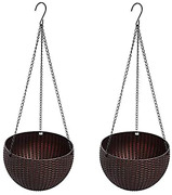 Hanging Basket Rattan Plastic Flower Pot,2 Pack Brown Small Size 6.5in X 4.5in