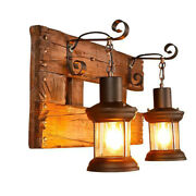 Antique Rustic Porch Lights Metal Glass Lantern Wall Sconce W/ Wood Backplate Us