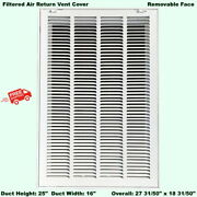 Filtered Air Return Vent Cover 25 X 16 Duct Size Grille Wall Ceiling White